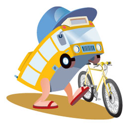 """Why can't we all just get along?!"" Even a bike and a bus could be friends!"